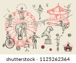 retro circus performance set... | Shutterstock .eps vector #1125262364