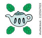 cartoon teapot with mint... | Shutterstock . vector #1125267023