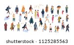 crowd of tiny people dressed in ... | Shutterstock .eps vector #1125285563