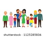 big family grandparents  aunt... | Shutterstock .eps vector #1125285836