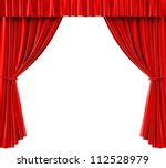 red curtains on a white... | Shutterstock . vector #112528979