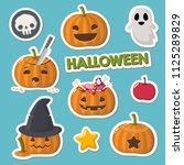 vector set of halloween icons... | Shutterstock .eps vector #1125289829