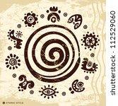 ethnic petroglyphs | Shutterstock .eps vector #112529060