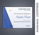 certificate template in vector... | Shutterstock .eps vector #1125292820