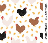 seamless pattern with domestic... | Shutterstock .eps vector #1125294086