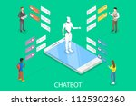 flat isometric concept of chat... | Shutterstock . vector #1125302360