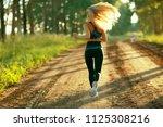 summer girl running nature  ...   Shutterstock . vector #1125308216