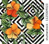 tropical vector seamless flower ... | Shutterstock .eps vector #1125309023