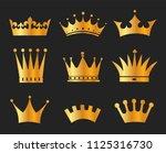 gold crowns set   set of gold... | Shutterstock .eps vector #1125316730