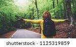 tourist traveler with backpack... | Shutterstock . vector #1125319859