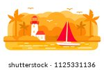 sailing yacht ship.summer... | Shutterstock .eps vector #1125331136