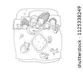the family sleeps in bed....   Shutterstock .eps vector #1125338249