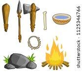 tools primitive caveman wooden... | Shutterstock .eps vector #1125346766