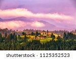 beautiful summer landscape in... | Shutterstock . vector #1125352523
