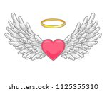 a pair of wide spread angel...   Shutterstock .eps vector #1125355310