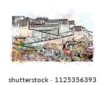 the potala palace in lhasa ... | Shutterstock .eps vector #1125356393
