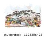 the potala palace in lhasa ... | Shutterstock .eps vector #1125356423