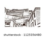 the potala palace in lhasa ... | Shutterstock .eps vector #1125356480