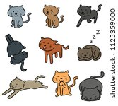 vector set of cats | Shutterstock .eps vector #1125359000