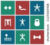 workout icon. collection of 9... | Shutterstock .eps vector #1125365408