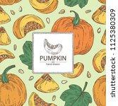 background with pumpkin  piece... | Shutterstock .eps vector #1125380309