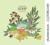 background with handmade soap ... | Shutterstock .eps vector #1125381140