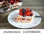 strawberry tiramisu with... | Shutterstock . vector #1125386603