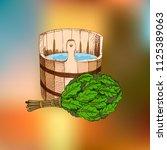 bathing goods. a wooden barrel...   Shutterstock .eps vector #1125389063