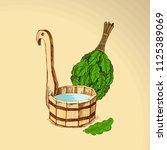 bathing goods. a wooden barrel...   Shutterstock .eps vector #1125389069
