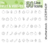 fruit and vegetables thin line... | Shutterstock .eps vector #1125395639