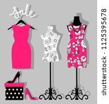 illustration of a dress on a... | Shutterstock . vector #1125395678