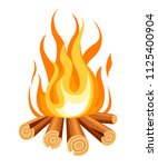 burning bonfire with wood....   Shutterstock .eps vector #1125400904