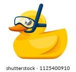 yellow rubber duck. cartoon... | Shutterstock .eps vector #1125400910