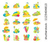 a large set of bright colorful... | Shutterstock .eps vector #1125404813