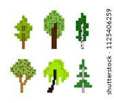 various pixel art trees... | Shutterstock .eps vector #1125406259