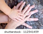 family concept.three hands of... | Shutterstock . vector #112541459