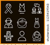 set of 9 woman outline icons... | Shutterstock . vector #1125419543