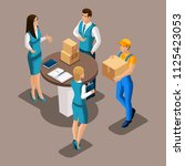 isometric courier delivered... | Shutterstock .eps vector #1125423053