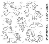 set of cute cartoon unicorns.... | Shutterstock .eps vector #1125423806