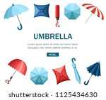 collection of umbrellas. flat...   Shutterstock .eps vector #1125434630