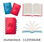 set of notebooks. spiral and...   Shutterstock .eps vector #1125436268