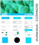 light blue  green vector ui kit ... | Shutterstock .eps vector #1125446240