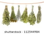 Variety Of Dried Herbs Hanging...