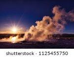 clepsydra geyser in yellowstone ... | Shutterstock . vector #1125455750