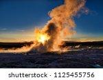clepsydra geyser in yellowstone ... | Shutterstock . vector #1125455756