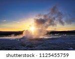 clepsydra geyser in yellowstone ... | Shutterstock . vector #1125455759