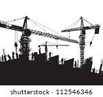 Construction Site Silhouette ...