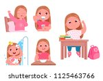 the daily routine of the child... | Shutterstock .eps vector #1125463766