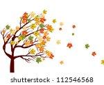 Autumn Maple Tree With  Fallin...