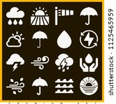 set of 16 weather filled icons... | Shutterstock . vector #1125465959